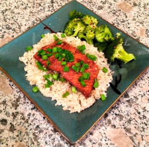wild Alaskan salmon marinated in Trader Joe's Soyaki sauce, brown rice, green onion, and broccoli