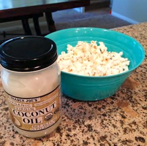 stovetop popcorn made with organic popcorn kernels and coconut oil