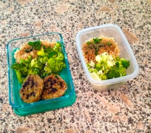 Meal prep: broccoli, brown rice with green onions and pepper, ground turkey patties made with organic ground turkey, green onion, spinach, yellow onion, red pepper flakes, and oregano.